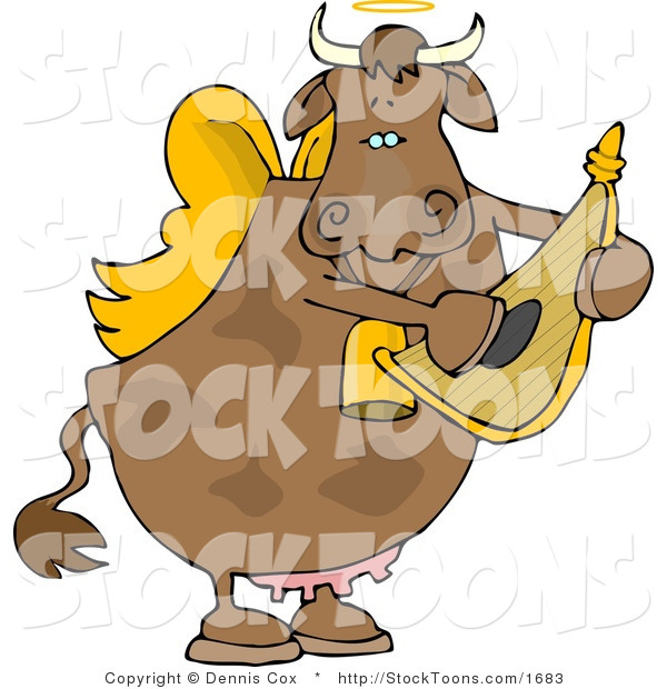 Stock Cartoon of a Cupid Angel Cow