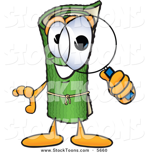 Stock Cartoon of a Curious Green Carpet Mascot Cartoon Character Looking Through a Magnifying Glass