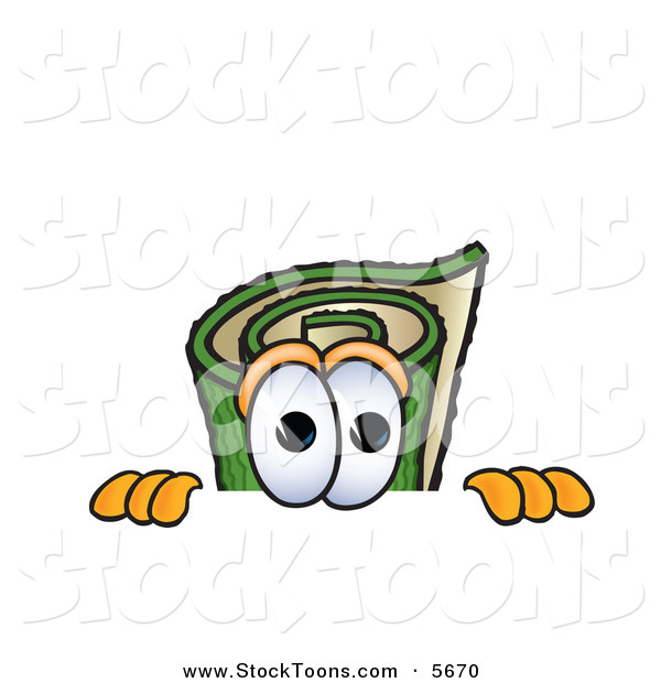 Stock Cartoon of a Curious Green Carpet Mascot Cartoon Character Scared, Peeking over a Surface