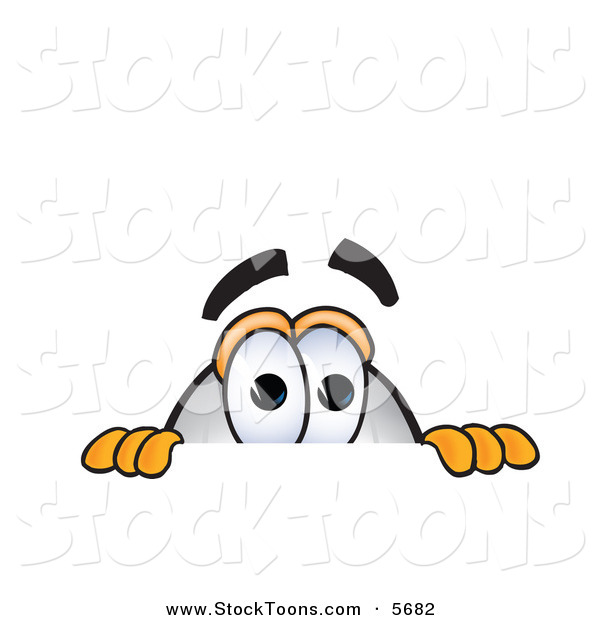 Stock Cartoon of a Curious White Blimp Mascot Cartoon Character Scared and Peeking over a Surface