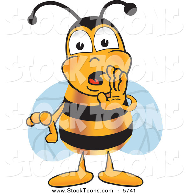 Stock Cartoon of a Cute Bee Mascot Cartoon Character Whispering and Gossiping