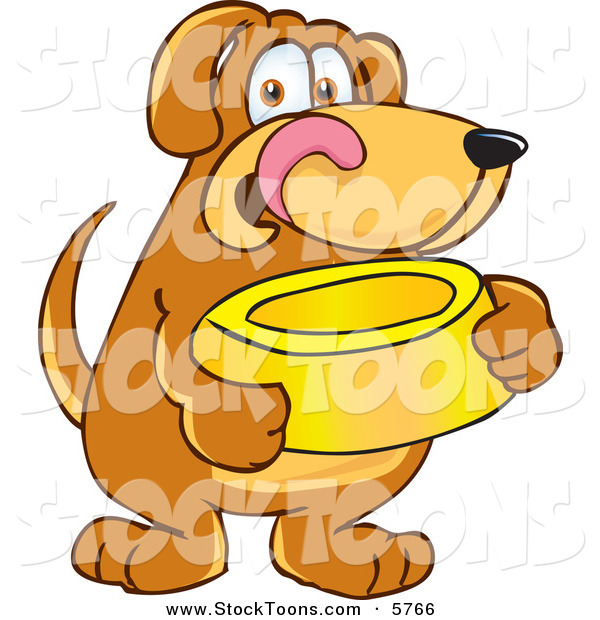 Stock Cartoon of a Cute Brown Dog Mascot Cartoon Character Holding a Food Dish, Waiting to Be Fed