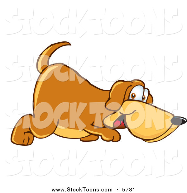 Stock Cartoon of a Cute Brown Dog Mascot Cartoon Character Sniffing the Ground