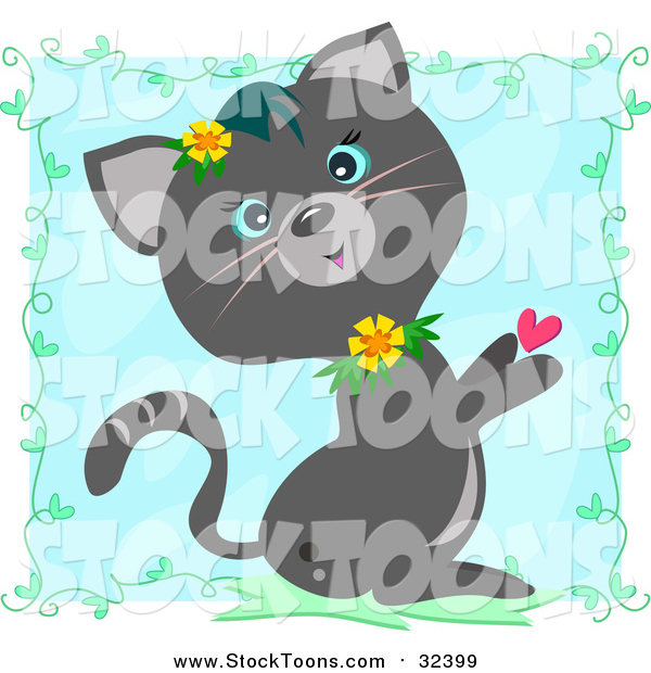 Stock Cartoon of a Cute Gray Cat with Flowers and a Heart over Blue with Vines
