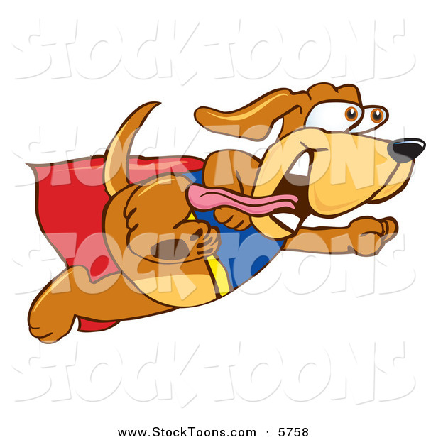 Stock Cartoon of a Cute Panting Brown Dog Mascot Cartoon Character Dressed As a Super Hero, Flying