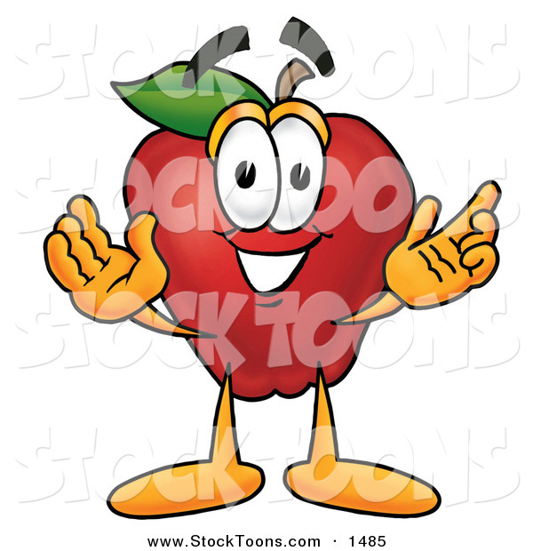 Stock Cartoon of a Cute Red Apple Character Mascot with Open Arms While Greeting Someone