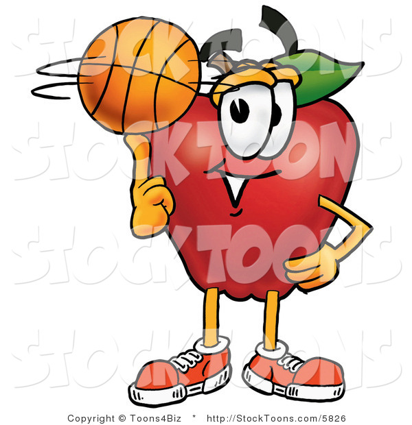 Stock Cartoon of a Cute Sporty Red Apple Character Mascot Spinning a Basketball on His Finger