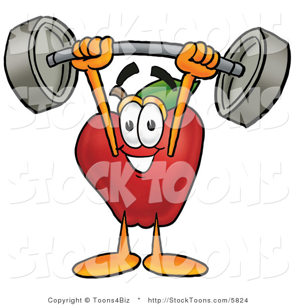 Stock Cartoon of a Cute Strong Red Apple Character Mascot Holding a Heavy Barbell Above His Head