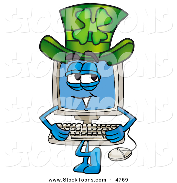 Stock Cartoon of a Desktop Computer Character Wearing a Saint Patricks Day Hat with a Clover on It