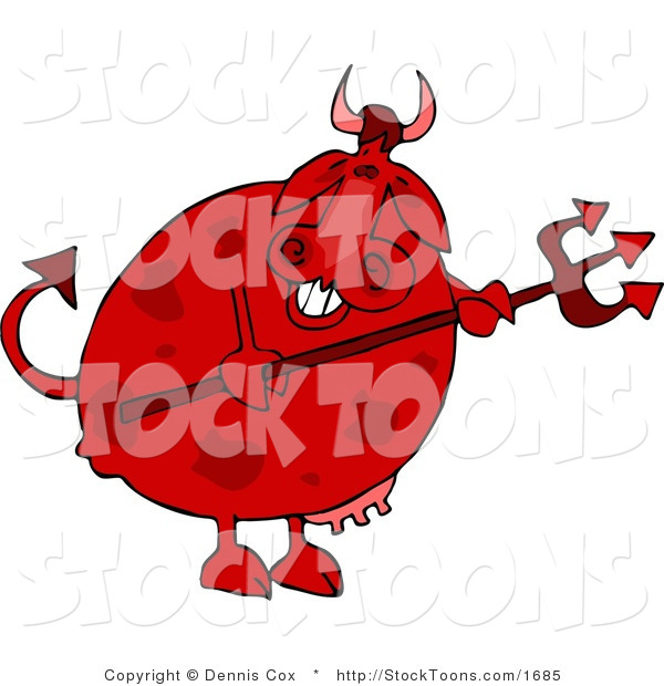 Stock Cartoon of a Devil Cow