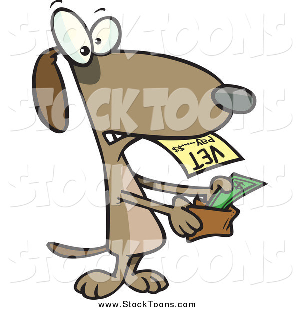 Stock Cartoon of a Dog Pulling Cash out of His Wallet and Paying a Vet Bill