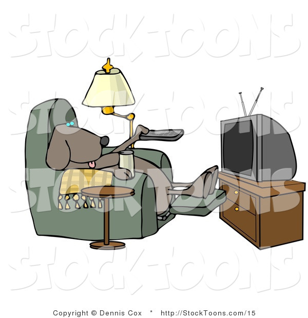 Stock Cartoon of a Dog Sitting in a Recliner with a Beer, Watching TV