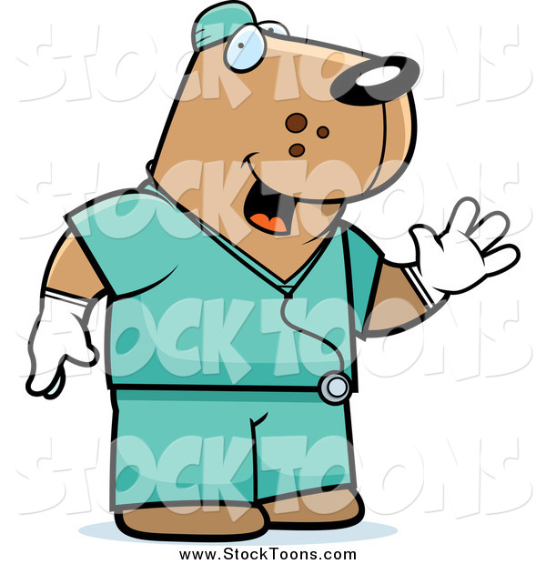 Stock Cartoon of a Dog Surgeon in Scrubs