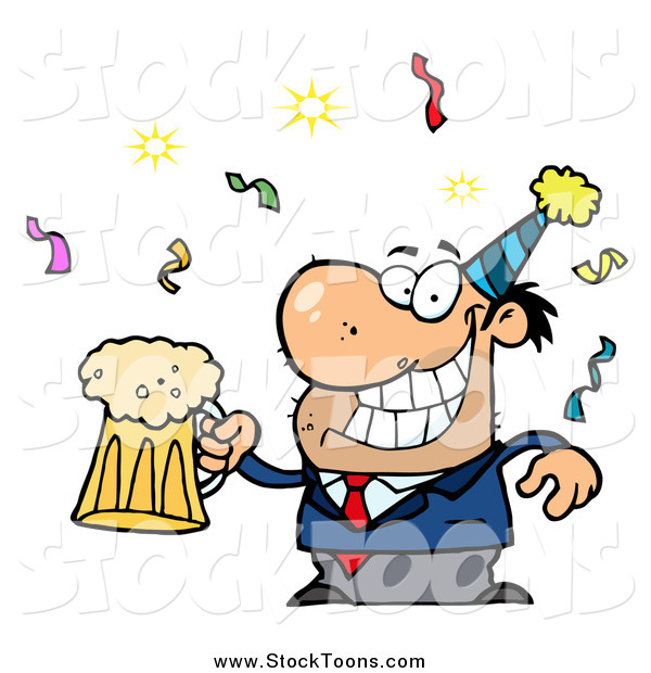 stock cartoon of a drunk new years party man holding beer by hit rh stocktoons com  office holiday party clipart