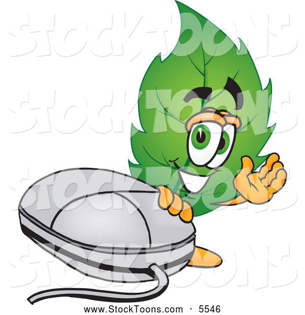 Stock Cartoon of a Eco Friendly Leaf Mascot Cartoon Character Standing by a Computer Mouse