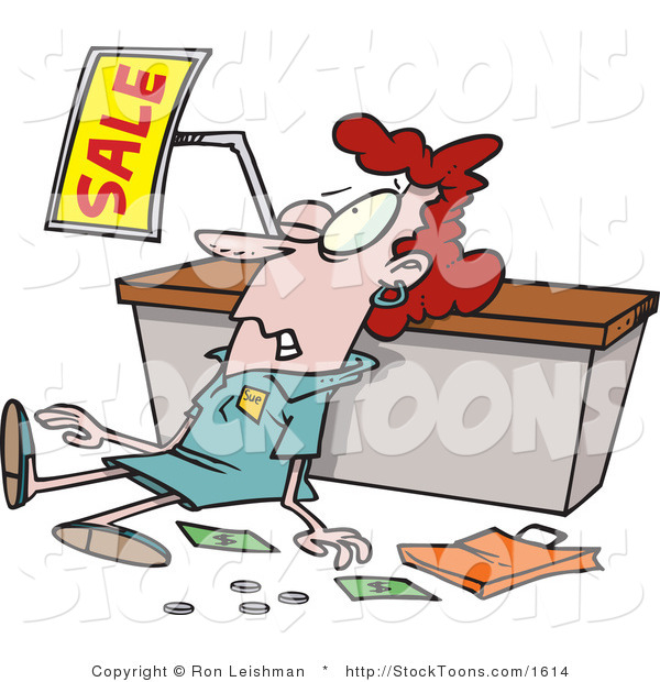 Stock Cartoon of a Employee Trampled During a Sale