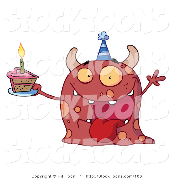 Stock Cartoon of a Excited Birthday Monster
