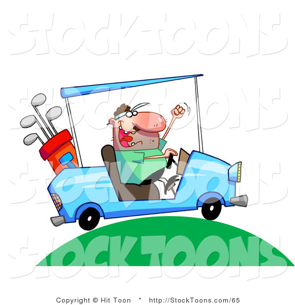 Stock Cartoon of a Excited Man Driving a Blue Golf Cart