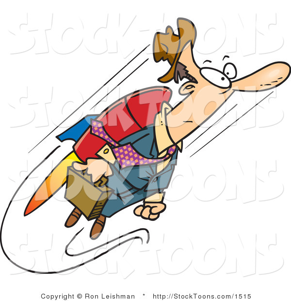Stock Cartoon of a Fast Business Man Flying with a Jet Pack