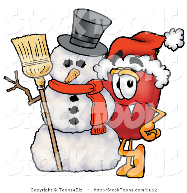 Stock Cartoon of a Festive Red Apple Character Mascot Leaning on a Snowman at Christmastime