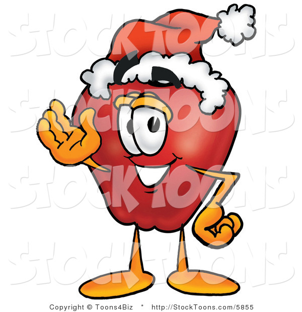 Stock Cartoon of a Festive Red Apple Character Mascot Wearing a Red and White Santa Hat and Waving