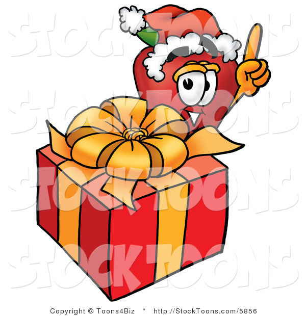 Stock Cartoon of a Festive Red Apple Character Mascot with a Christmas Gift