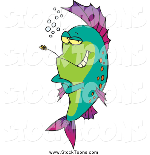 Stock Cartoon of a Fish Chewing on Straw