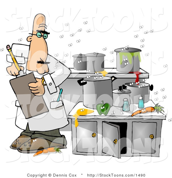 Stock Cartoon of a Food Health Inspector in a Nasty Kitchen