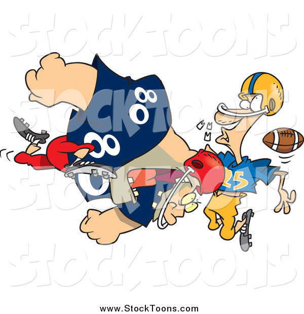 Stock Cartoon of a Football Player Tackling Another