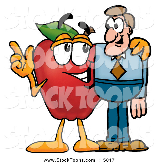 Stock Cartoon of a Friendly and Helpful Red Apple Character Mascot Talking Nutrition with a Business ManFriendly and Helpful Red Apple Character Mascot Talking Nutrition with a Business Man