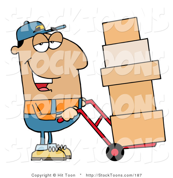 Stock Cartoon of a Friendly Hispanic Delivery Man