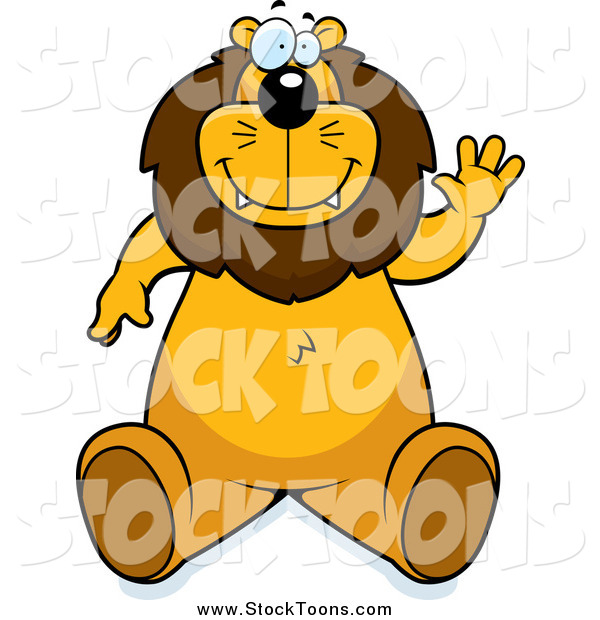 Stock Cartoon of a Friendly Lion Sitting and Waving