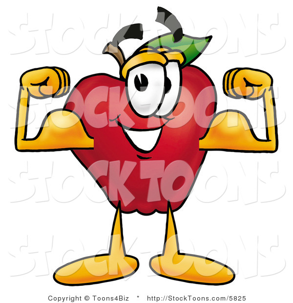 Stock Cartoon of a Friendly Red Apple Character Mascot Flexing His Arm Bicep Muscles