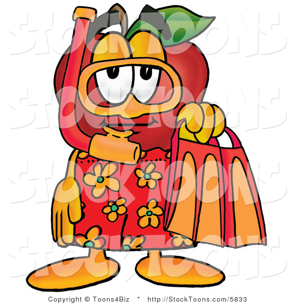 Stock Cartoon of a Friendly Red Apple Character Mascot in Orange and Yellow Snorkel Gear
