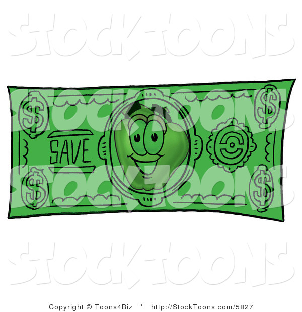 Stock Cartoon of a Friendly Red Apple Character Mascot on a Green Dollar Bill