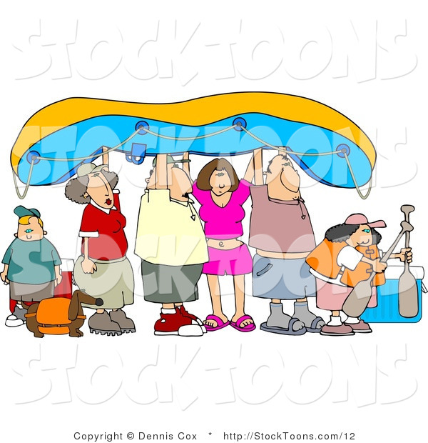 Stock Cartoon of a Friends and Family Holding up a Raft