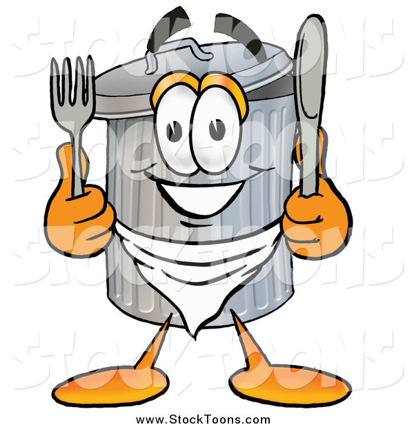 Stock Cartoon of a Garbage Can with Silverware