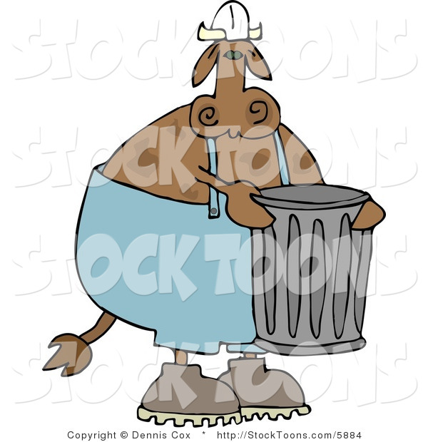 Stock Cartoon of a Garbageman Cow