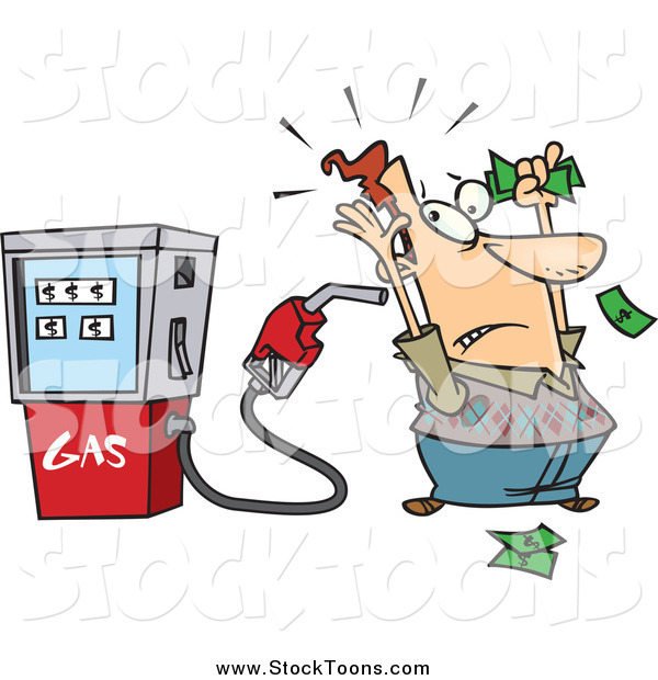 Stock Cartoon of a Gas Pump Holding up a Man