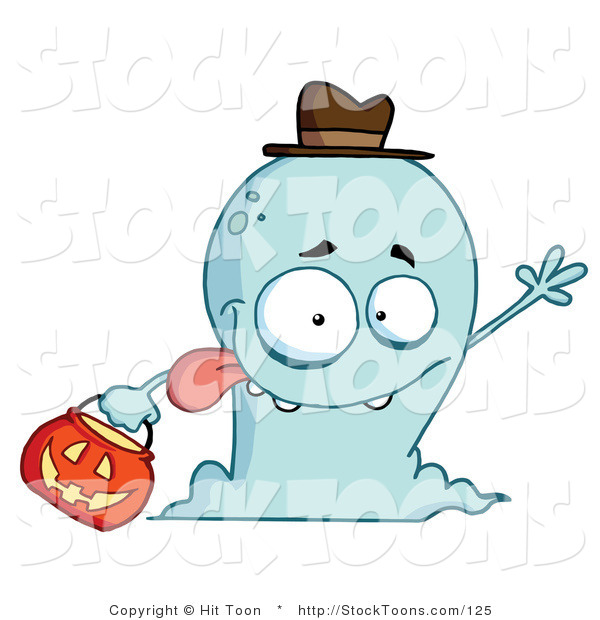 Stock Cartoon of a Goofy and Friendly Blue Ghost