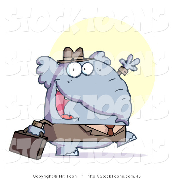 Stock Cartoon of a Gray Elephant Business Guy in a Hat and Suit