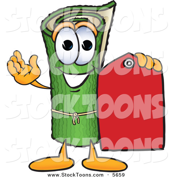 Stock Cartoon of a Green Carpet Mascot Cartoon Character Holding a Red Price Tag on White