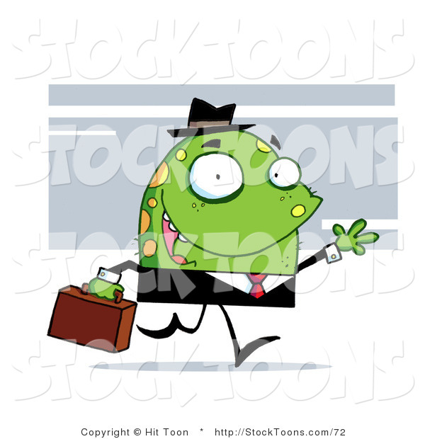 Stock Cartoon of a Green Monster with Yellow Spots