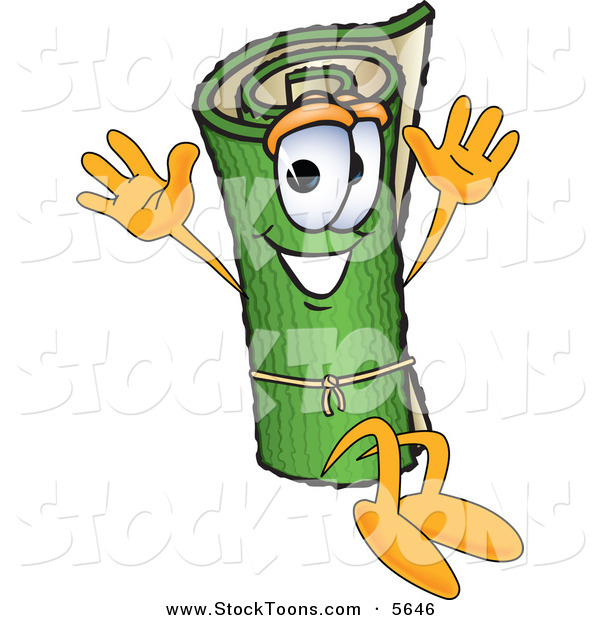 Stock Cartoon of a Green Rolled Carpet Mascot Cartoon Character Sitting and Waving His Hands