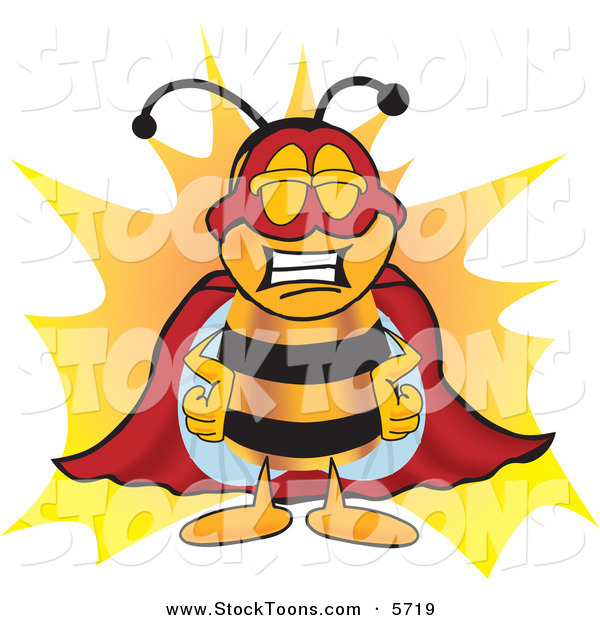 Stock Cartoon of a Grinning Bee Mascot Cartoon Character Dressed As a Super Hero
