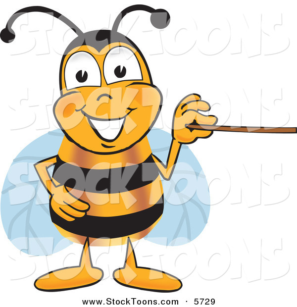 Stock Cartoon of a Grinning Bee Mascot Cartoon Character Holding a Pointer Stick