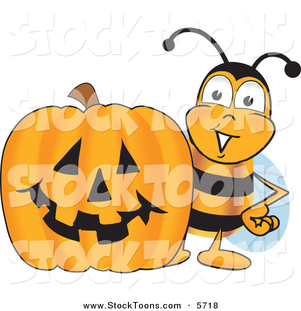 Stock Cartoon of a Grinning Bee Mascot Cartoon Character with a Carved Halloween Pumpkin