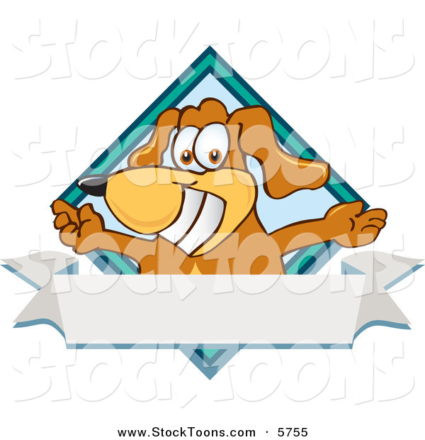 Stock Cartoon of a Grinning Brown Dog Mascot Cartoon Character with Open Arms over a Blank White Label