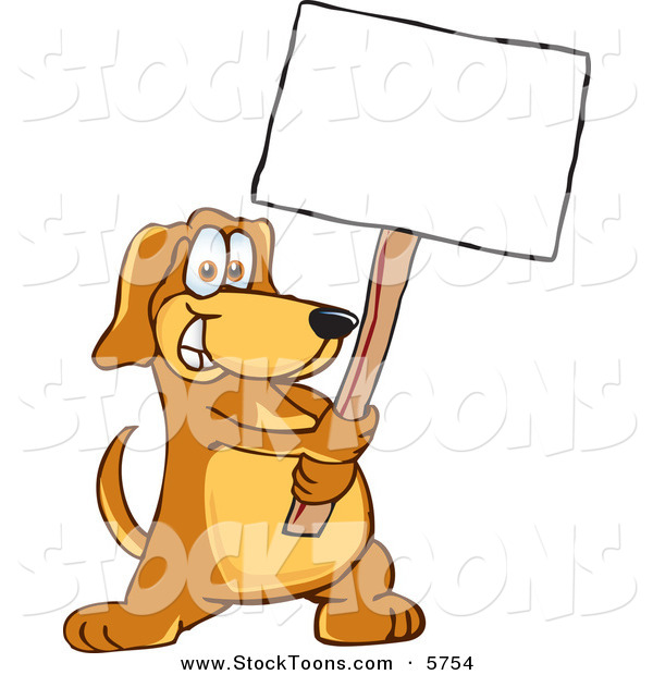 Stock Cartoon of a Grinning Brown Pet Dog Mascot Cartoon Character Holding a Blank White Sign