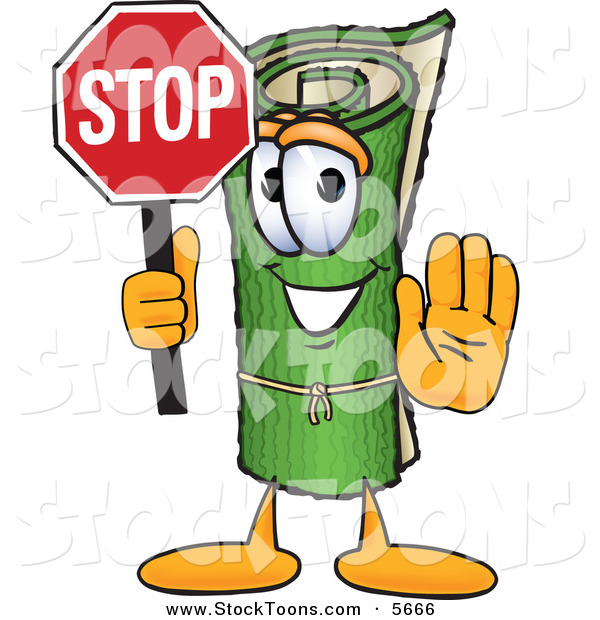 Stock Cartoon of a Grinning Green Carpet Mascot Cartoon Character Holding a Stop Sign